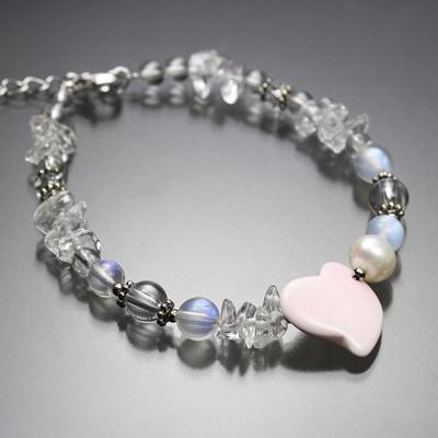 【特別価格】月の腕輪〜Luna bracelet〜<ロイヤルブルームーンストーン5A&シェル&水晶> ※表記以外へのサイズ変更不可