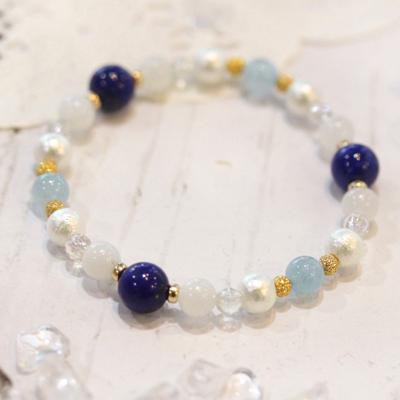 1点限り★ラピスラズリが主役♪青と白のふわり煌めきのブレス-002