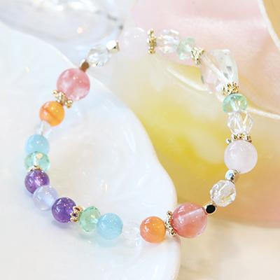 【春らんまんSALE】1点限り★心に元気をくれる☆みずみずしい虹色のブレス-025