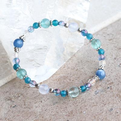 1点限り★多彩な青の煌めきに癒やされる♪人間関係改善ブレス-039