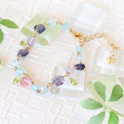 1点限り★瑞々しい透明感を放つ紫陽花(あじさい)ブレス-041
