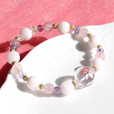 限定生産さくら色ブレス〜一重桜〜<水晶(桜)&ピンクカルサイト&ラベンダーアメジストAA&ディープローズクォーツAA> ※表記以外のサイズへの変更不可