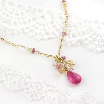 【夏季限定販売】[数量限定]誕生石ネックレス〜Blossom〜<ルビー&ペリドット&シトリン&ローズクォーツ>