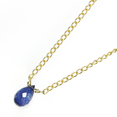 星の雫ネックレス<カイヤナイト[ファセットドロップカット]>