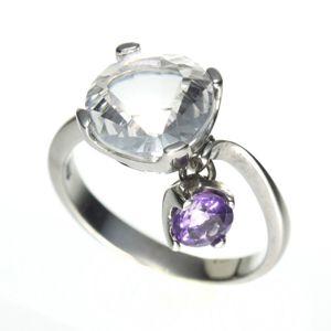 【4月誕生石】オンリーワンデザインリング<水晶&アメジスト>211