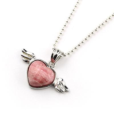 【アウトレット】天使の羽ペンダント<アルゼンチン産インカローズ>001 ※チェーン別売